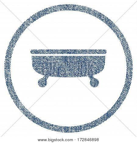 Bathtub vector textured icon for overlay watermark stamps. Blue jeans fabric vectorized texture. Symbol with dirty design. Blue ink rubber seal stamp with fiber textile structure.