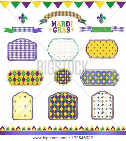 Ribbon and banners, label, ribbon bow tie, frames, vintage border, garland, pattern with fleur-de-lis symbol set for Mardi Gras Carnival parade, Festival, Masquerade Decoration. Vintage ornament vector icons collection.