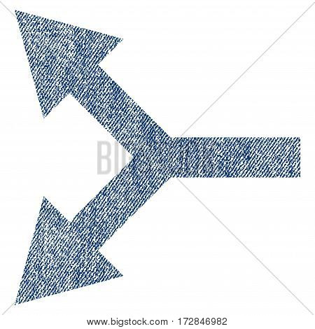 Bifurcation Arrow Left vector textured icon for overlay watermark stamps. Blue jeans fabric vectorized texture. Symbol with unclean design. Blue ink rubber seal stamp with fiber textile structure.