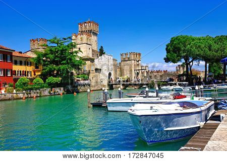 Lago di Garda - pictorial view with Rocca Scaligera in Sirmione. Italy
