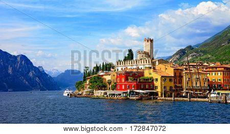 Beautiful scenic Lago di Garda - view of Malcesine village. Italy