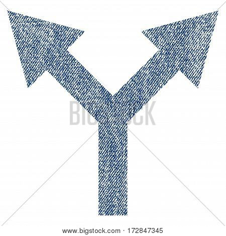Bifurcation Arrow Up vector textured icon for overlay watermark stamps. Blue jeans fabric vectorized texture. Symbol with dust design. Blue ink rubber seal stamp with fiber textile structure.