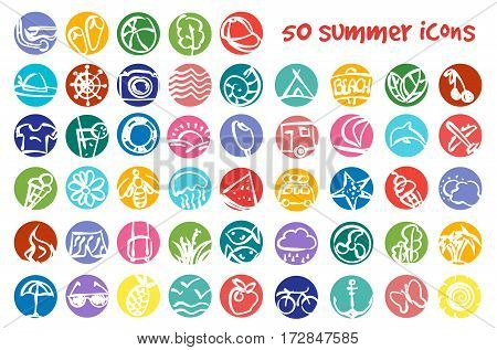 Vector doodle summer icons set. Stock cartoon round signs for design.