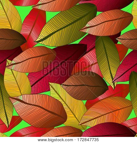 Seamless vector pattern with autumn leaves on green background. Foliage