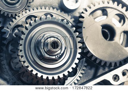 engine gears wheels, closeup view