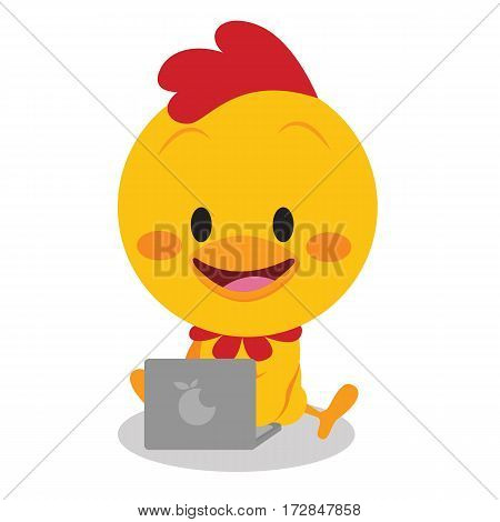 Chick with laptop vector art collection stock