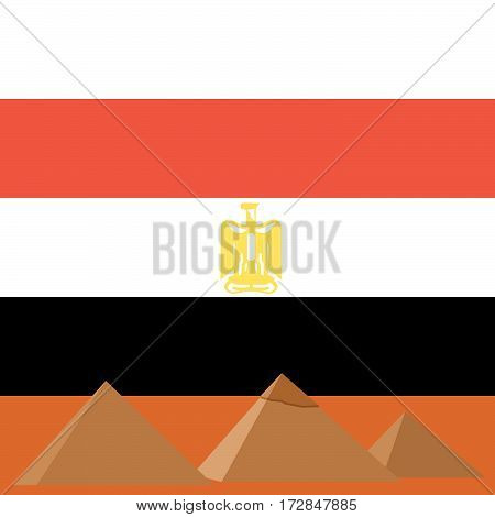 The Egyptian pyramids on the background of the national flag of Egypt. The illustration on a white background.