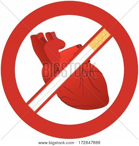 Sign of the ban on smoking because smoking is harmful to health. The illustration on a white background.