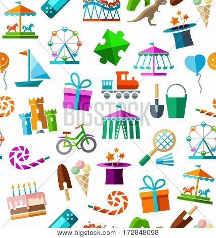 Children's entertainment and leisure, background, seamless, color, white. Vector background with objects for the entertainment of children. Colored images on a white field.