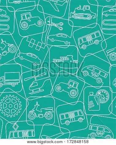 Transport and construction equipment, green background, seamless, contour drawing.  Vector background. Different types of transport and construction machines. Air, land and water transport. A linear pattern.