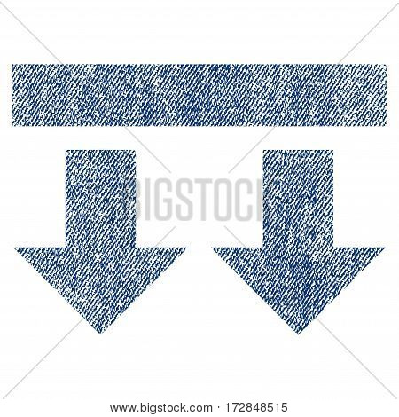 Bring Down vector textured icon for overlay watermark stamps. Blue jeans fabric vectorized texture. Symbol with scratched design. Blue ink rubber seal stamp with fiber textile structure.
