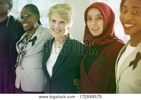 Diverse women group with black ribbon