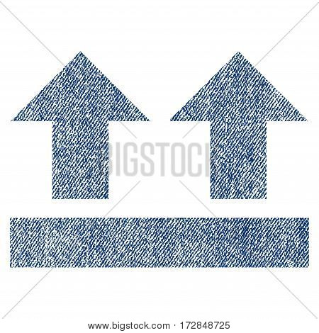 Bring Up vector textured icon for overlay watermark stamps. Blue jeans fabric vectorized texture. Symbol with dirty design. Blue ink rubber seal stamp with fiber textile structure.
