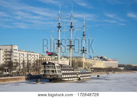 SAINT PETERSBURG, RUSSIA - JANUARY 20, 2017: A view of the frigate