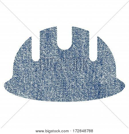 Builder Hardhat vector textured icon for overlay watermark stamps. Blue jeans fabric vectorized texture. Symbol with scratched design. Blue ink rubber seal stamp with fiber textile structure.