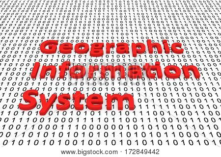 geographic information system in the form of binary code, 3D illustration