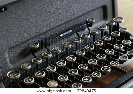 Scene of the key to old typewriter