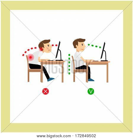 Correct posture sitting before the computer position, man vector illustration