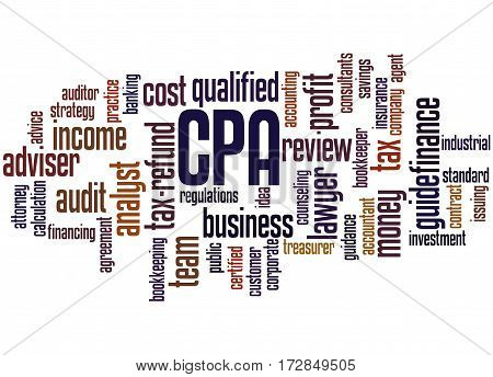 Cpa - Certified Public Accountant, Word Cloud Concept 3