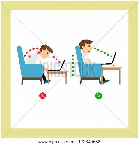 Correct posture sitting, laptop use position vector illustration