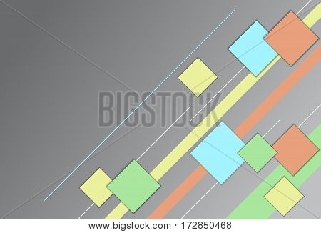 Colorful squares and lines design. Vector template background