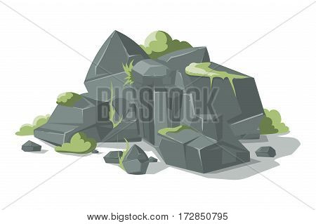 Grey stones and rocks cartoon vector nature boulder with grass. Nature geology heap gravel illustration