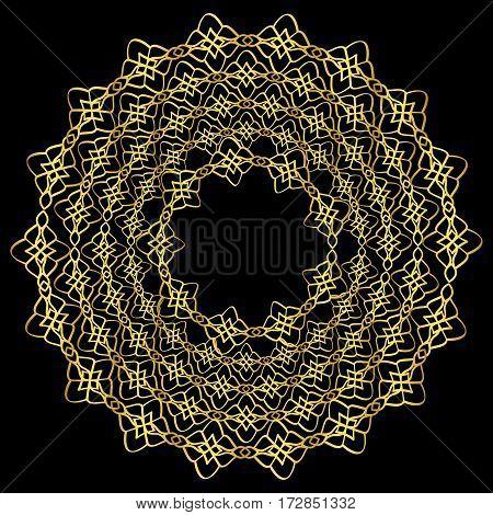 Golden floral mandala on black background. Vector illustration
