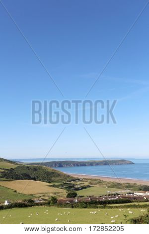 A sunny summers day at the beach in the uk, up on the hills