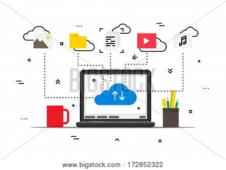 Laptop with cloud data storage data vector illustration. Wireless file transfer network technology creative concept. Remote internet storage for files graphic design. Online file synchronization.