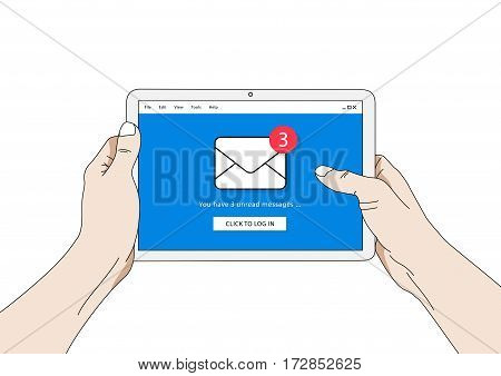 Mail notification on tablet vector illustration. E-mail message reminder creative concept. Internet communication with mobile device graphic design.