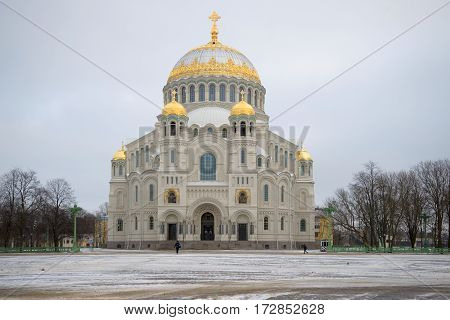 A view of the St. Nicholas Naval Cathedral gloomy January day. Kronstadt, Russia