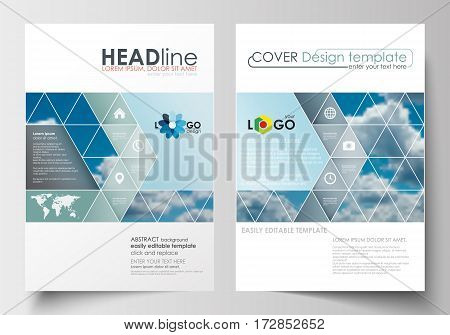 Business templates for brochure, magazine, flyer, booklet or annual report. Cover design template, easy editable blank, abstract blue flat layout in A4 size, vector illustration