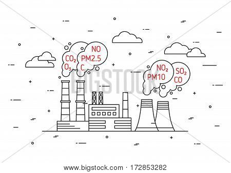 Factory pollutes atmosphere vector illustration. Dangerous air pollution and toxic smog smoke fog exhaust concept. Coal industry and smoke from chimney pipes with hazardous elements graphic design.