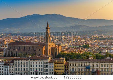 Florence city skyline and Basilica di Santa Croce di Firenze, Florence, Italy
