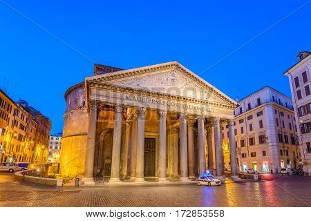 Pantheon at night before sunrise, Rome, Italy