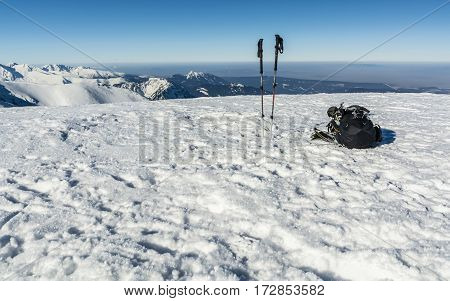 Winter Mountain Tourist Equipment.