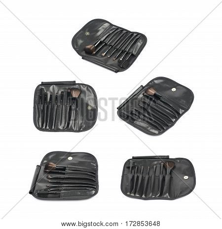 Makeup tools black case bag isolated over the white background, set of five different foreshortenings