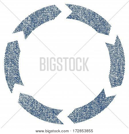 Circulation vector textured icon for overlay watermark stamps. Blue jeans fabric vectorized texture. Symbol with dust design. Blue ink rubber seal stamp with fiber textile structure.