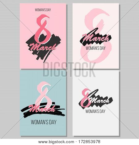 Set of four greeting cards for international womens day. Eight march. Usable for prints. Vector design. Hand drawn elements.