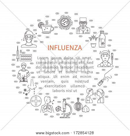 Prevention of influenza round banner in the trendy linear style. Symptoms and treatment of disease.