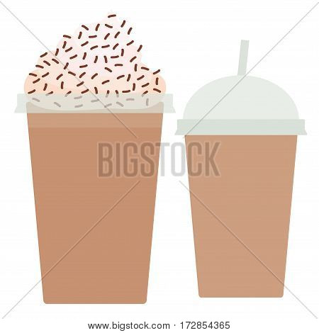 Chocolate Coffee Take-out smoothie transparent plastic cup with straw and whipped cream. Isolated on white background. Vector illustration