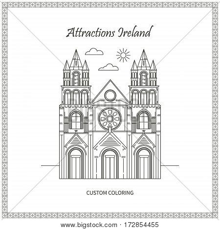 Attractions Ireland. City. Architecture. The flat trend line illustration. Ideal for custom coloring book