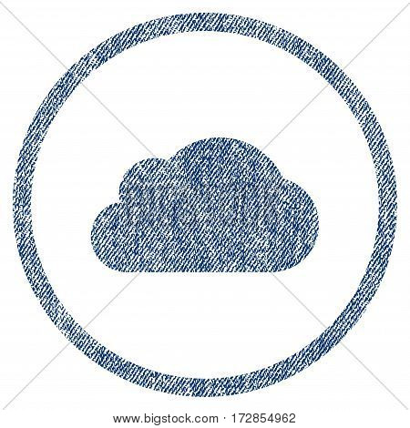Cloud vector textured icon for overlay watermark stamps. Blue jeans fabric vectorized texture. Symbol with dirty design. Blue ink rubber seal stamp with fiber textile structure.