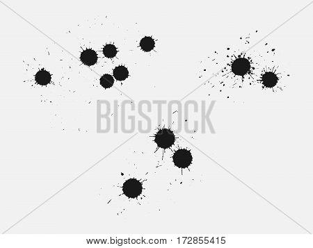 Set of Black ink drops. Hand Drawn Ink.Collection. Vector illustration