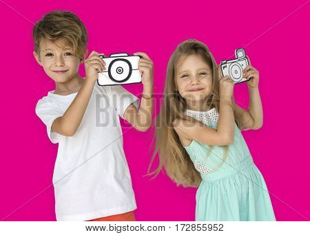 Little Children Taking Photo Papercraft Camera