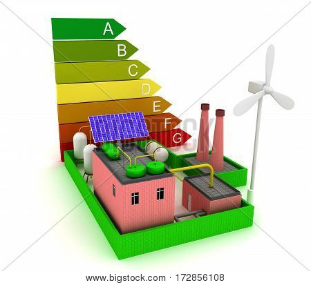 Factory energy efficiency with windmill, solar panel and scale energy efficiency. 3d render