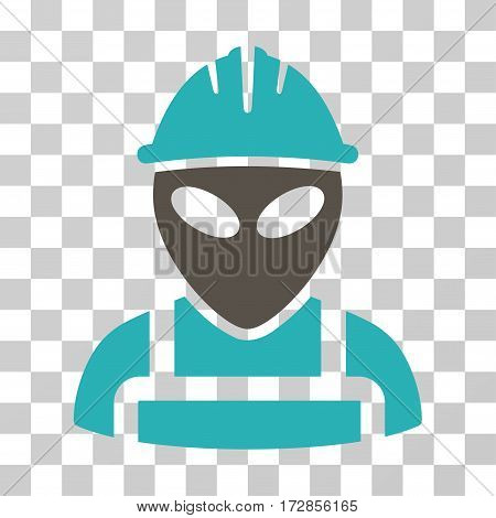 Alien Worker vector icon. Illustration style is flat iconic bicolor grey and cyan symbol on a transparent background.