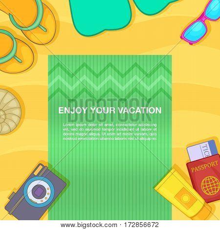 Travel concept beach. Cartoon illustration of travel concept vector concept for web