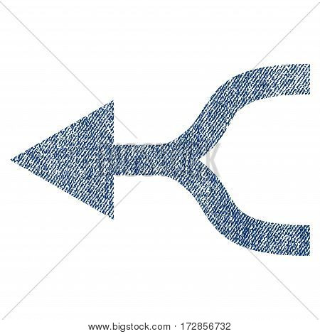 Combine Arrow Left vector textured icon for overlay watermark stamps. Blue jeans fabric vectorized texture. Symbol with dirty design. Blue ink rubber seal stamp with fiber textile structure.