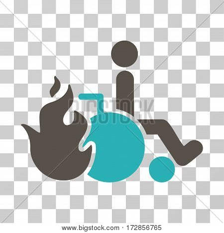 Burn Patient vector icon. Illustration style is flat iconic bicolor grey and cyan symbol on a transparent background.